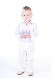 Little business man with money Royalty Free Stock Photo