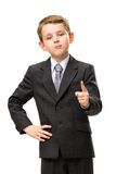 Little business man pointing finger gestures Stock Photos
