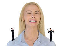 Little business man screaming on stressed woman Stock Images