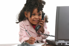 Little Business Woman on Phone Stock Photo