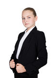 Little business woman. Studio portrait of child girl in business style. Studio isolated on a white background. Stock Images