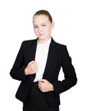 Little business woman. Studio portrait of child girl in business style. Studio isolated on a white background. Stock Photo