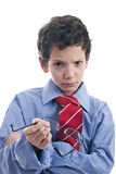 Little businessman angry. Isolated on white background Royalty Free Stock Images