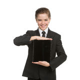 Little businessman with digital tablet. Royalty Free Stock Photography