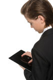 Little businessman with digital tablet. Royalty Free Stock Photos