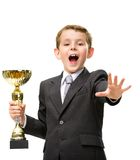 Little businessman hands golden cup Royalty Free Stock Photo