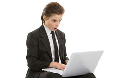 Little businessman with laptop. Stock Photography