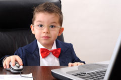 little  businessman listening his father opinions Royalty Free Stock Photo