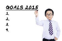 Little businessman makes business goals Stock Photos