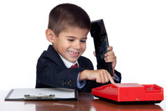 Little businessman marking a red phone Stock Photos