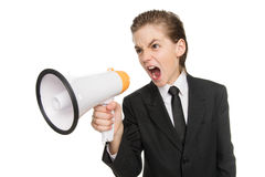 Little businessman with megaphone. Stock Photos