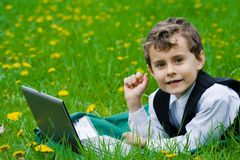 Little businessman outdoors Stock Images