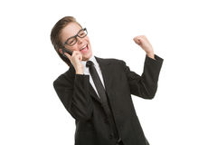 Little businessman on the phone. Stock Photos