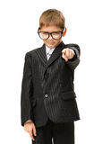 Little businessman pointing finger gestures Stock Photo