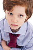 Little businessman sad. With arms crossed, isolated on white background Royalty Free Stock Photo
