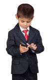 Little businessman sending a message Royalty Free Stock Photos