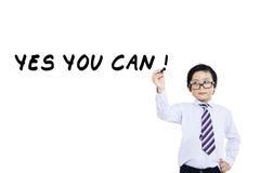 Little businessman write on whiteboard Stock Photography