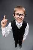 Little businessmen in glasses forefinger gesturing Royalty Free Stock Images