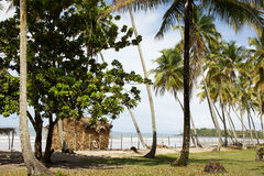 Little cabin on the beach, vacation landscape Royalty Free Stock Image