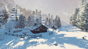 Little cabin in a snowy mountains at snowfall Stock Photos