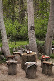 Little cafe of tree trunks. Royalty Free Stock Photography