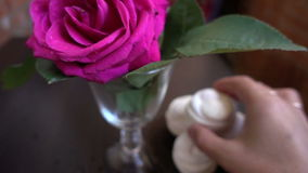 Little cakes and rose on wooden table on Valentine's Day. Love the concept of romance. Little cakes and rose on wooden table on Valentine's Day. Love the stock footage