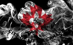 Little Canada city smoke flag, Minnesota State, United States Of. America Stock Photos