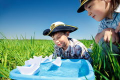 Little captains royalty free stock image