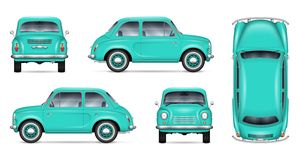 Little car vector mock-up. Small retro car vector mockup on white background. Isolated template of the classic minicar for vehicle branding, advertising and vector illustration