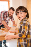 Little carpenter. Royalty Free Stock Images
