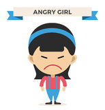 Little cartoon angry girl vector illustration Stock Image