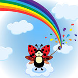 Little cartoon beetle and rainbow on the sky Royalty Free Stock Image