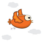 Little cartoon bird in the sky. Vector illustration Royalty Free Stock Images
