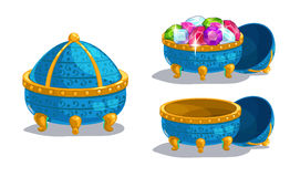 Little cartoon blue casket Stock Photo