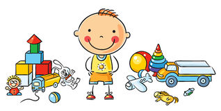 Little Cartoon Boy with Toys Stock Photography