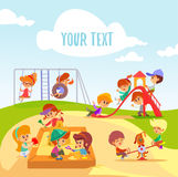 Little cartoon boys and girls playing on playground. Cute little cartoon boys and girls on playground.Children playing on a slide,in a sandbox.Vector Stock Photos