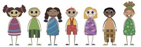 Little cartoon children on a white background vector illustration
