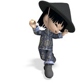 Little cartoon china boy is so cute and funny Stock Photo
