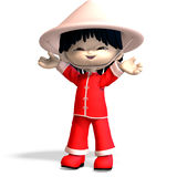 Little cartoon china boy is so cute and funny. 3D. Rendering with clipping path and shadow over white Royalty Free Stock Images