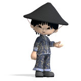 Little cartoon china boy is so cute and funny. 3D. Rendering with clipping path and shadow over white Royalty Free Stock Photos