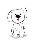 Little cartoon dog sitting. Outline. Little white cartoon dog sitting. Outline Stock Photo