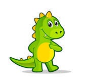 Little cartoon dragon. Funny dinosaur or dragon vector illustration Royalty Free Stock Images