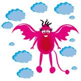 Little cartoon dragon in sky. Illustration Royalty Free Stock Images