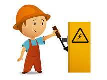 Little cartoon electrician switch on the power vol Stock Photo