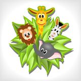 Little cartoon elephant, giraffe, lion  and zebra Stock Photo