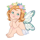 Little cartoon fairy. Sitting little fairy. Cute cartoon character isolated on white background Royalty Free Stock Photo