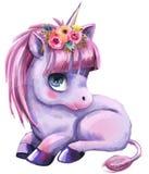 Little cartoon fairytale unicorn. With rainbow and clouds vector illustration