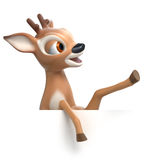 Little cartoon fawn shows something Royalty Free Stock Photos