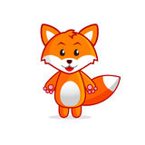 Little Cartoon Fox Vector Illustration for Kids. Funny Baby Fox. Vector art isolated on white background Royalty Free Stock Photography