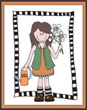 Little cartoon girl gardener in frame Royalty Free Stock Images